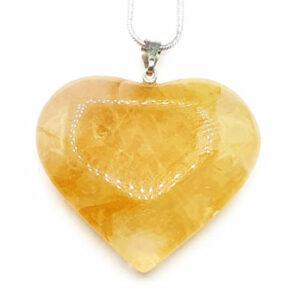 Cœur en calcite jaune (L) - Eveil & Potentiel