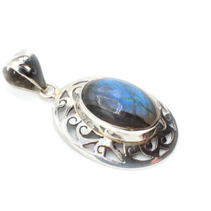Labradorite sertie argent (M) - Protection & Accompagnement